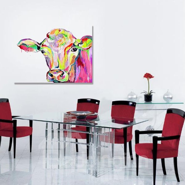 Colorful Pop Art Cow Head Hand Painted Oil Painting
