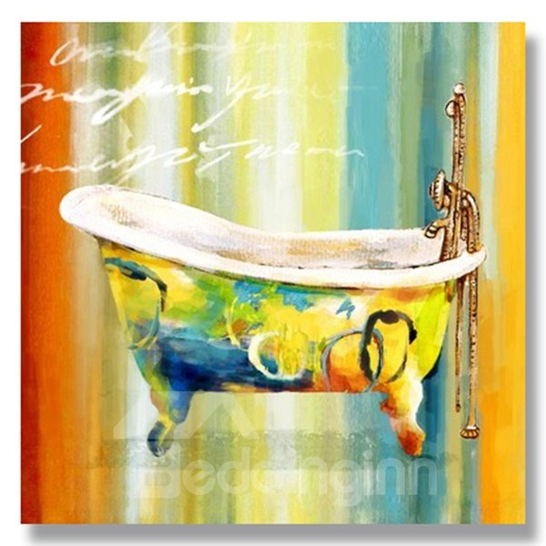 Beautiful Hand Painted Bathtub Oil Painting