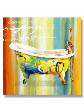 Beautiful Hand Painted Bathtub Oil Painting