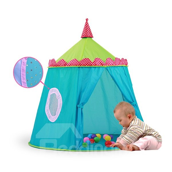 Blue Polyester Taffeta Castle-like Pentagonal Kids Indoor Tent