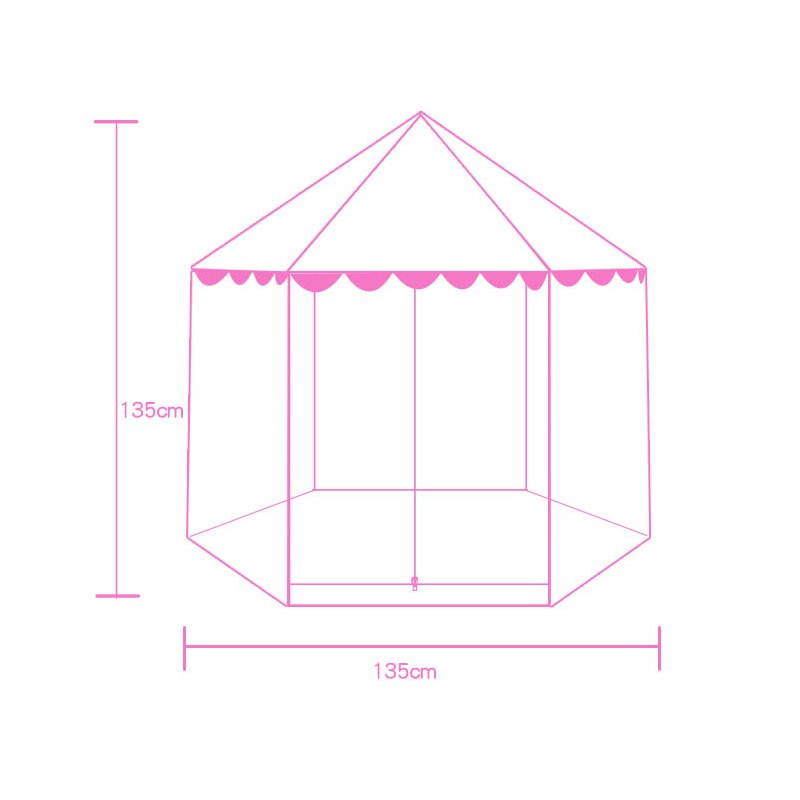 Lovely Pink Polka Dots Hex-angular Kids Indoor Tent