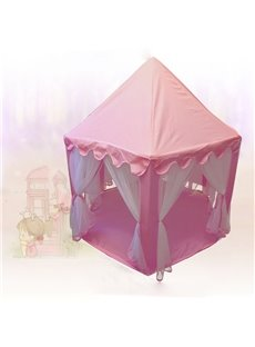 Pink Quadrangle Polka Dots Cotton Cloth Kids Indoor Tent