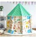 Cute Animals Green Hex-angular Cotton Cloth Kids Indoor Tent