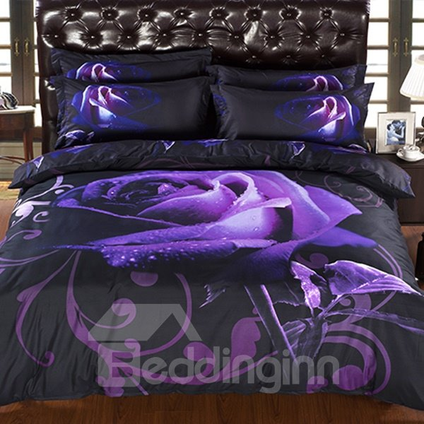 New Arrival Mysterious Noble Purple Rose 3D Fitted Sheet