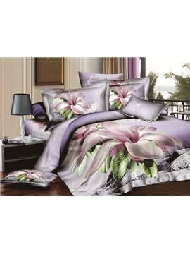 New Arrival Fresh Lilac Orchid Printing King Size Duvet Cover