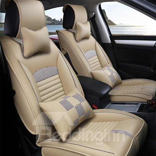 Special Fashion Grid Design Durable Leather Universal Five Car Seat Cover
