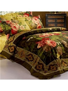 Antique Retro Luxury Oil Painting Print 3D Fitted Sheet