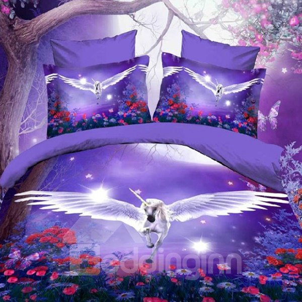 Dreamlike Flying Horse with Wings Purple Polyester 3D Fitted Sheet