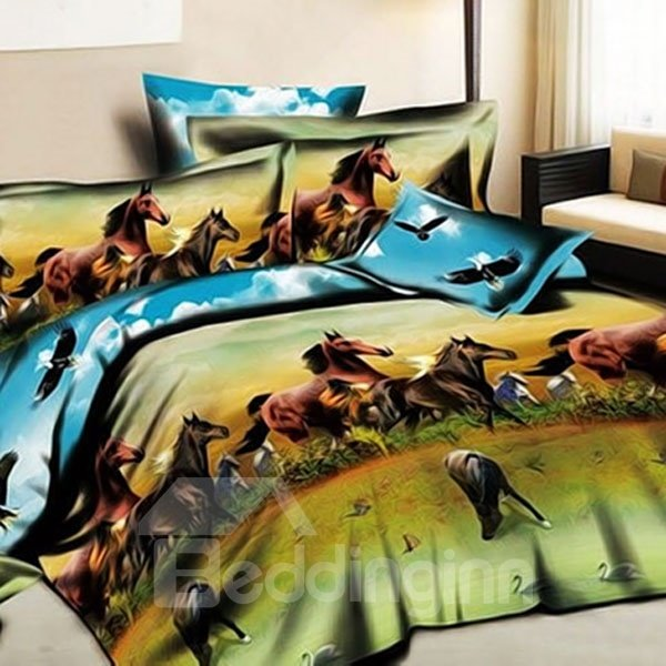 Wonderful Printed Ten Thousand Horses 3D Fitted Sheet