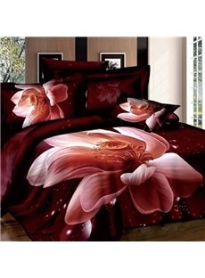 Charming 3D Lotus Print Two Pieces Pillow Case