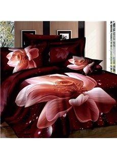 Charming 3D Lotus Print Two Pieces Pillow Case