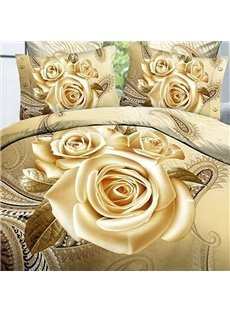 New Style Lifelike Golden Rose Print Cotton 2-Piece Pillow Cases