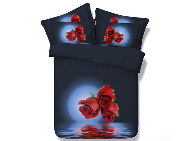 New Style Glamorous Red Roses Print 5-Piece Comforter Sets