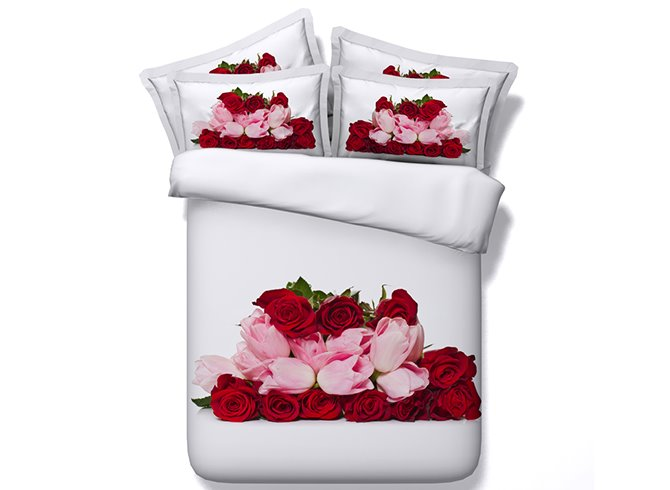 Fancy Romantic Red Roses and Pink Tulips Print 4-Piece Duvet Cover Sets