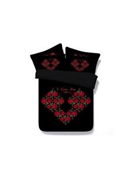 High Class Cool Flowers Heart Shape Black 4 Pieces Bedding Sets