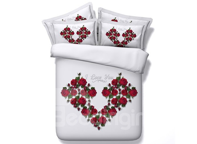New Arrival Chic Flowers Heart Shape 4-Piece Duvet Cover Sets