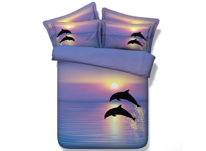 High Class Dreamy Dolphin Purple 5-Piece Comforter Sets