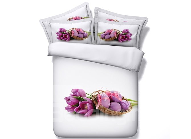 Top Class Purple Tulips and Eggs Print 5-Piece Comforter Sets