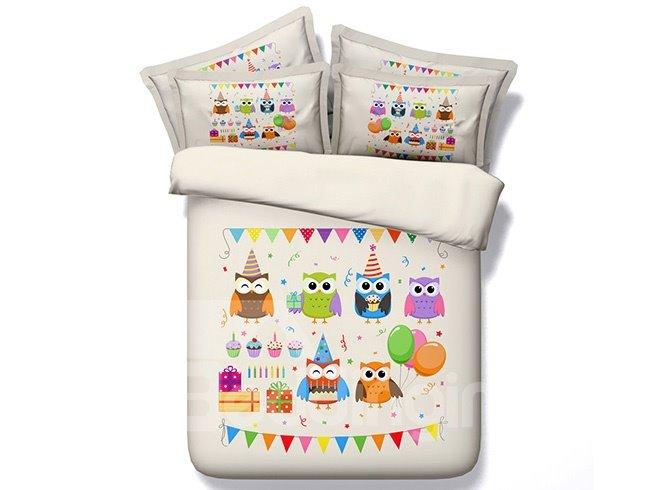 New Arrival Cartoon Owl Print 5-Piece Comforter Sets