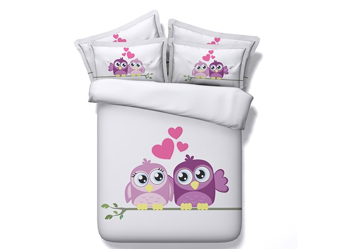 New Arrival Sweet Lovely Owl Printing 5-Piece Comforter Sets