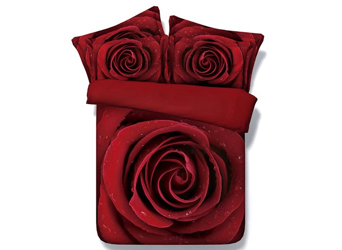 Fancy Beautiful Red Rose Printed 5-Piece Comforter Sets