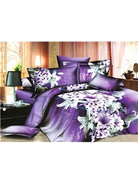 Noble Luxury Purple Lilies Pattern 4 Pieces Bedding Sets