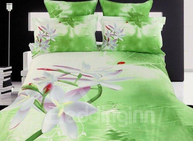 Vivid White Flowers Fresh Green Cotton 4 Pieces Bedding Sets