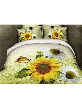 Graceful Pastoral Floral Style Sunflowers Pattern 4-Piece Cotton Duvet Cover Sets