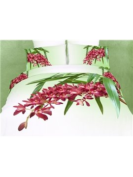 High-grade Elegant Flowers and Leaves 3D Printed 4 Pieces Bedding Sets