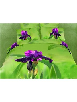 Chic Mysterious Purple Flower Print Cotton 4 Pieces Bedding Sets