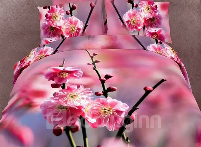 Chic Design Red Plum Blossom 3D Printed 4 Pieces Bedding Sets