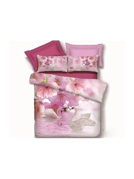 Dreamlike Elegant Swans and Delicate Flowers 4 Pieces Bedding Sets