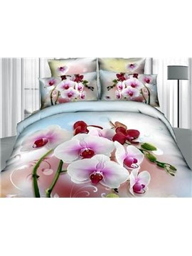 Pretty Charming Phalaenopsis Print 4 Pieces Bedding Sets