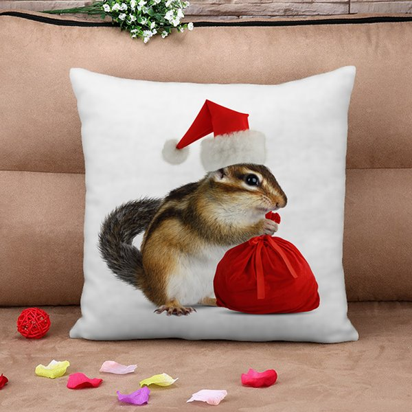 Lovely Christmas Mouse 3D Print Throw Pillow Case