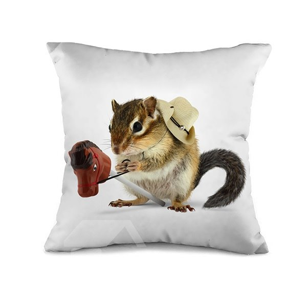 Cute Cowboy Style Mouse Print Throw Pillow Case