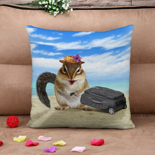 Hilarious Mouse Traveller Design 3D Throw Pillow Case