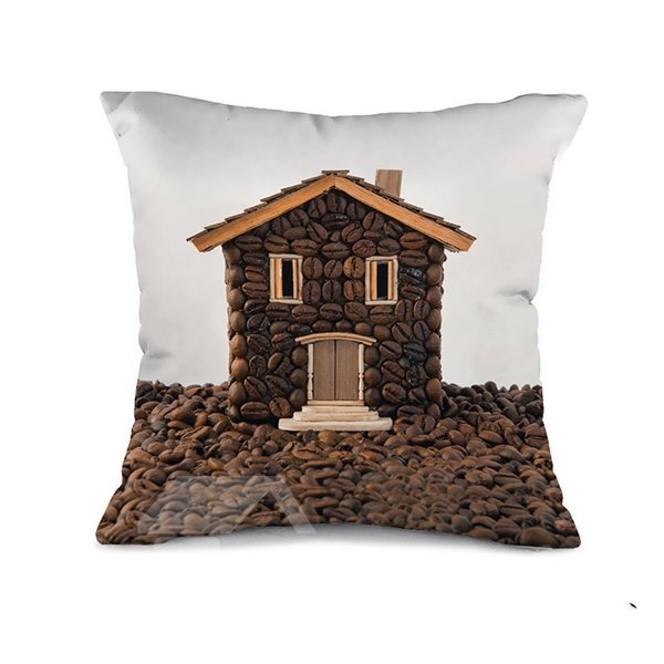 Novelty Creative Design Coffee Bean House Throw Pillow Case