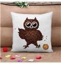 Personalized Cute Owl Coffee Bean 3D Print Throw Pillow Case