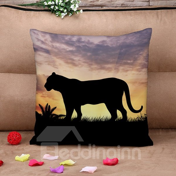 Strong and Vigorous Tiger Print Throw Pillow Case