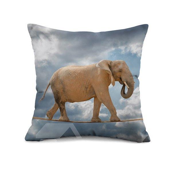 Elephant Throw Pillow Case : Elephant Wirewalking Design Square Throw Pillow Case - beddinginn.com
