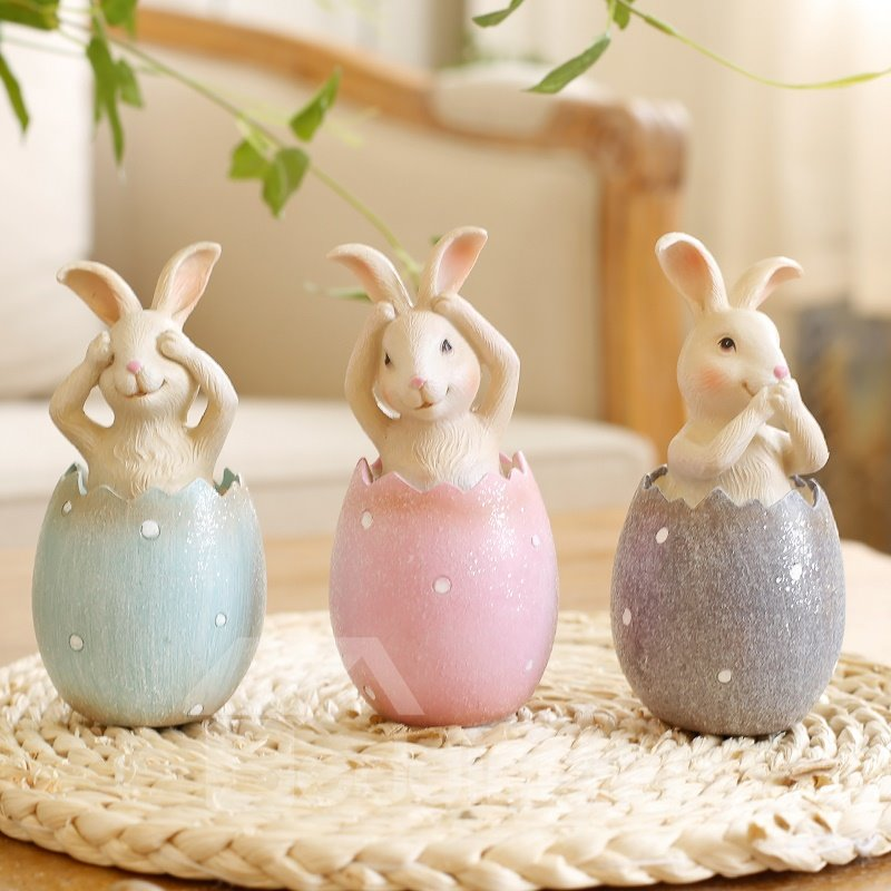 New arrival creative eggs rabbit desktop decoration for Figurine decoration jardin
