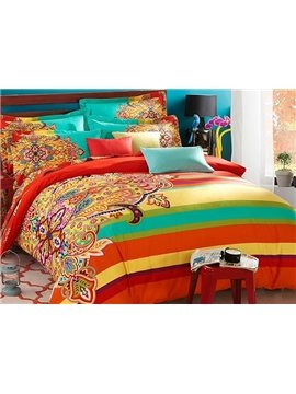 Luxurious Retro Ethnic Style Colorful 4-Piece Cotton Duvet Cover Sets