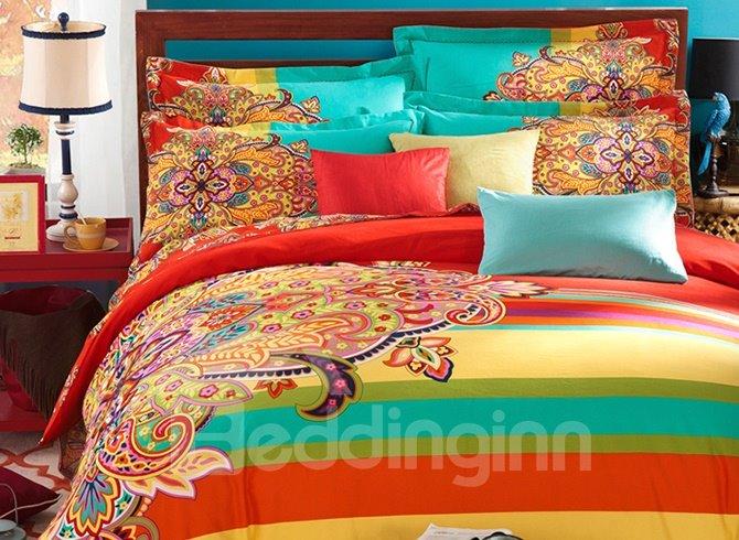 Luxurious Retro Ethnic Style Colorful 4-Piece Cotton Duvet Cover Sets