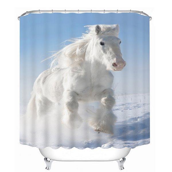 A White Horse Running Print 3D Bathroom Shower Curtain