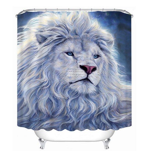 A White Lion Print 3D Bathroom Shower Curtain