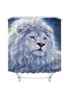 A White Lion Print 3D Bathroom Shower Curtain
