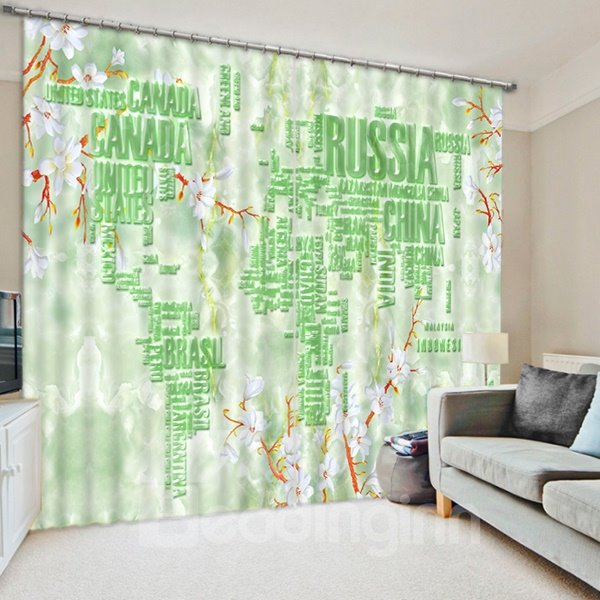 Special Design World Map Print 3D Blackout Curtain