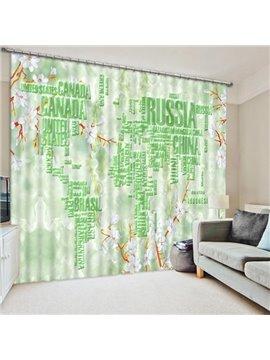 Special Design World Map Print 3D Blackout Curtain