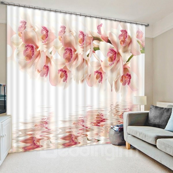White Orchid on the Water Print 3D Blackout Curtain