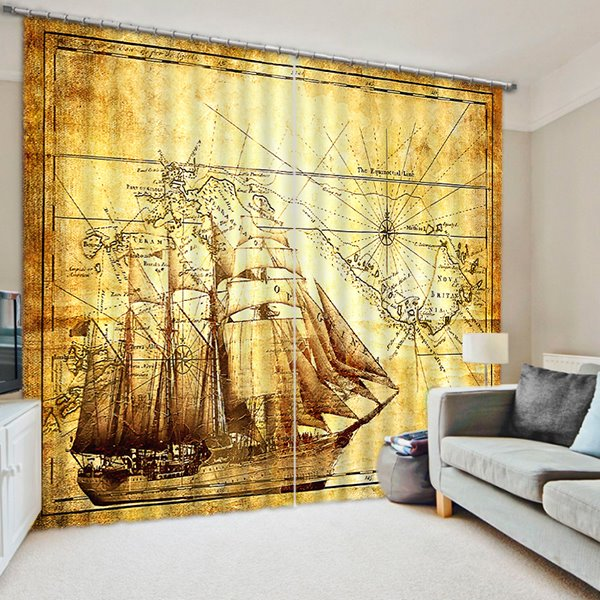 Ancient Fleets of Boats Sailing Print 3D Blackout Curtain